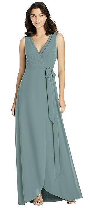 Sleeveless Tulip Skirt Wrap Maxi Dress with Sash