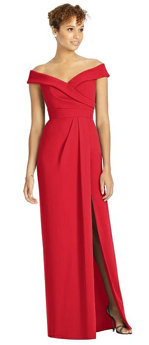 Cuffed Off-the-Shoulder Faux Wrap Maxi Dress with Front Slit