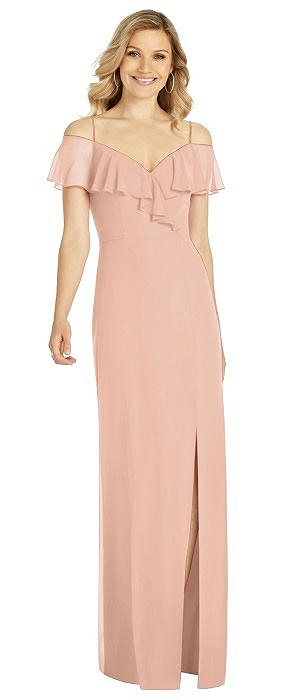 Ruffled Cold-Shoulder Maxi Dress