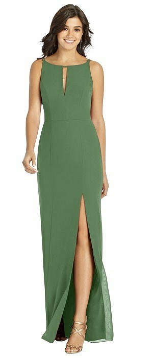 Keyhole Neck Mermaid Dress with Front Slit