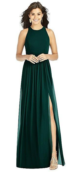 Shirred Skirt Halter Dress with Front Slit