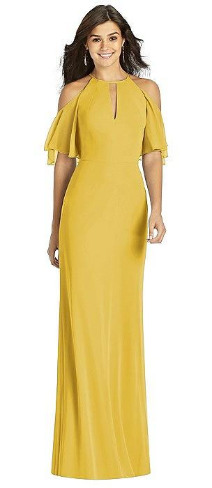 Ruffle Cold-Shoulder Mermaid Maxi Dress