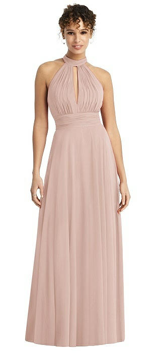 High-Neck Open-Back Shirred Halter Maxi Dress