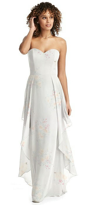 Strapless Chiffon Dress with Skirt Overlay