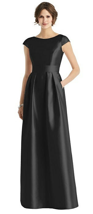 Cap Sleeve Pleated Skirt Dress with Pockets