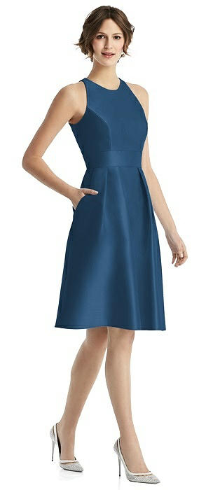 High-Neck Satin Cocktail Dress with Pockets
