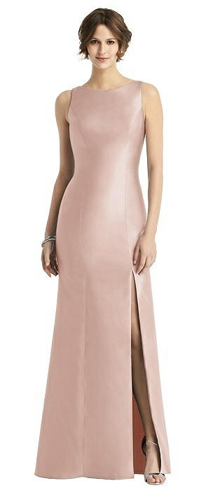 Sleeveless Satin Trumpet Gown with Bow at Open-Back