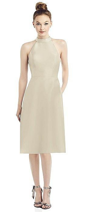 High-Neck Open-Back Satin Cocktail Dress