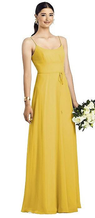 Spaghetti Strap Chiffon Maxi Dress with Jeweled Sash