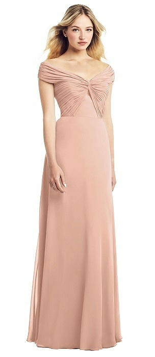 Off-the-Shoulder Pleated Bodice Chiffon Gown
