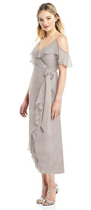 Cold-Shoulder Ruffled Wrap Dress