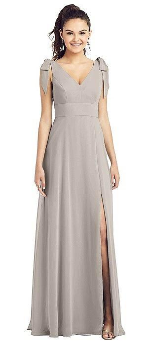 Bow-Shoulder V-Back Chiffon Gown with Front Slit