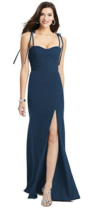 Bustier Crepe Gown with Adjustable Bow Straps
