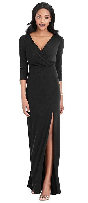3/4 Sleeve V-Back Draped Wrap Maxi Dress - Yara