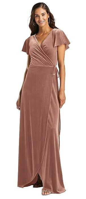 Flutter Sleeve Velvet Wrap Maxi Dress with Pockets