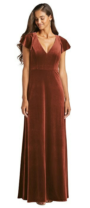 Flutter Sleeve Velvet Maxi Dress with Pockets