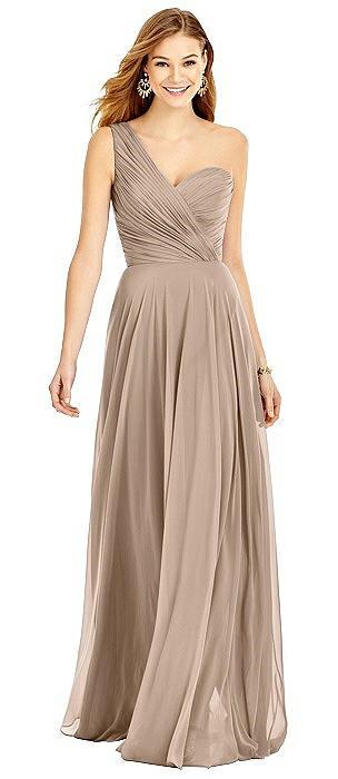 One-Shoulder Draped Chiffon Maxi Dress - Dani