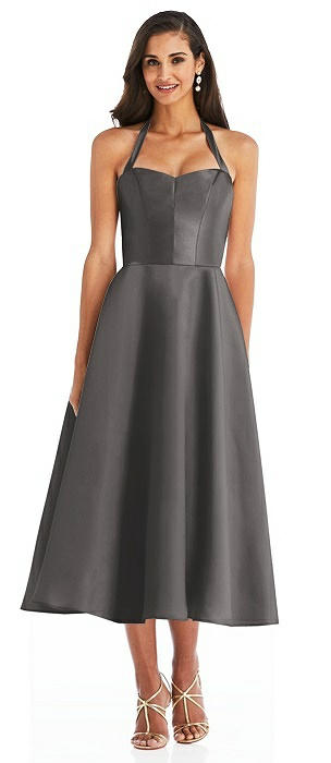 Tie-Neck Halter Full Skirt Satin Midi Dress
