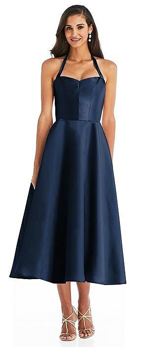 Tie-Neck Halter Full Skirt Satin Midi Dress