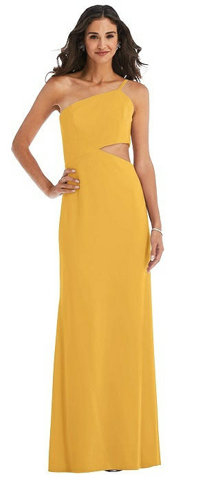 One-Shoulder Midriff Cutout Maxi Dress