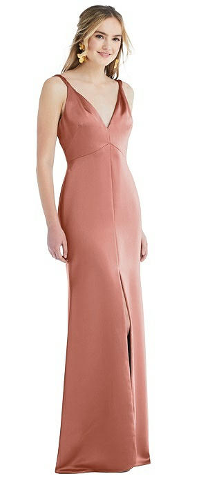 Twist Strap Maxi Slip Dress with Front Slit - Neve