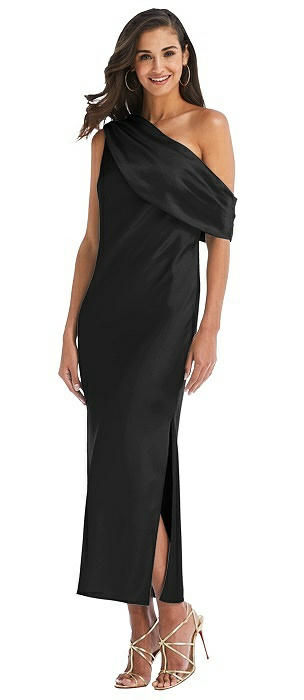 Draped One-Shoulder Convertible Midi Slip Dress