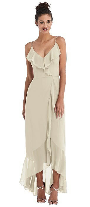 Ruffle-Trimmed V-Neck High Low Wrap Dress