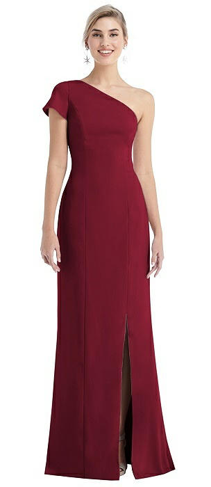 One-Shoulder Cap Sleeve Trumpet Gown with Front Slit
