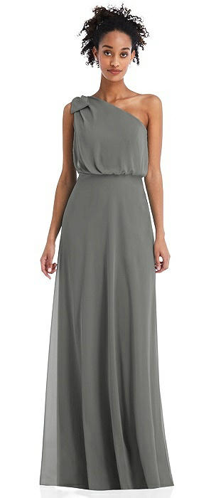 One-Shoulder Bow Blouson Bodice Maxi Dress
