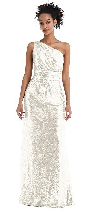 One-Shoulder Draped Sequin Maxi Dress