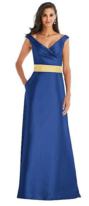 Off-the-Shoulder Draped Wrap Satin Maxi Dress
