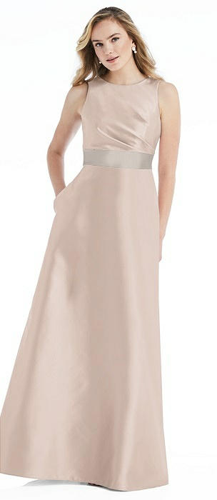 High-Neck Asymmetrical Shirred Satin Maxi Dress with Pockets