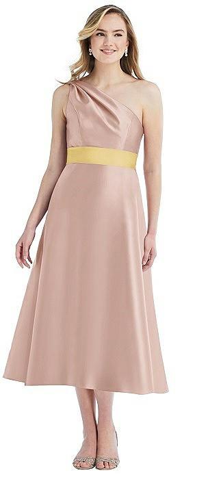 Draped One-Shoulder Satin Midi Dress with Pockets