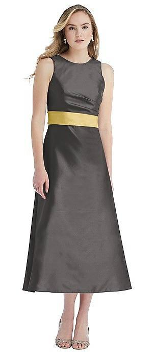 High-Neck Asymmetrical Shirred Satin Midi Dress with Pockets