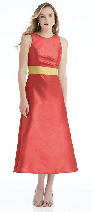 High-Neck Asymmetrical Shirred Satin Midi Dress with Pockets