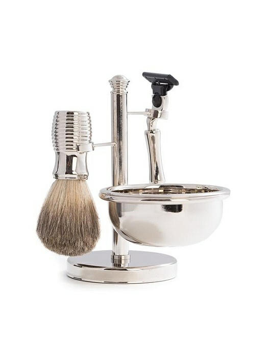 """""""Mach 3"""" Razor & Pure Badger Brush with Soap Dish on Chrome Stand"""