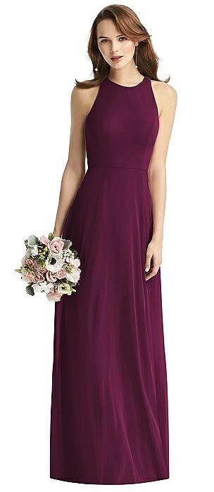 Sleeveless Halter Chiffon Maxi Dress