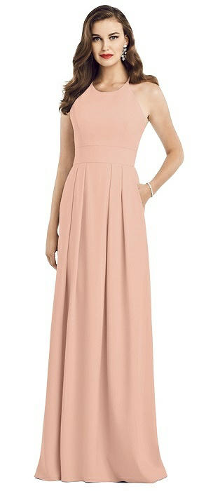 Criss Cross Back Crepe Halter Dress with Pockets