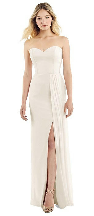 Strapless Chiffon Dress with Pleated Front Slit