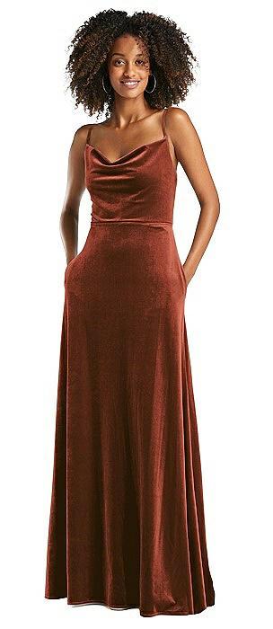 Cowl-Neck Velvet Maxi Dress with Pockets