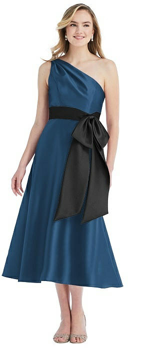 One-Shoulder Bow-Waist Midi Dress with Pockets