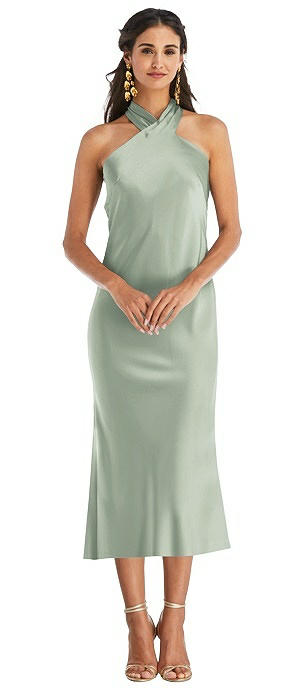 Draped Twist Halter Tie-Back Midi Dress - Paloma
