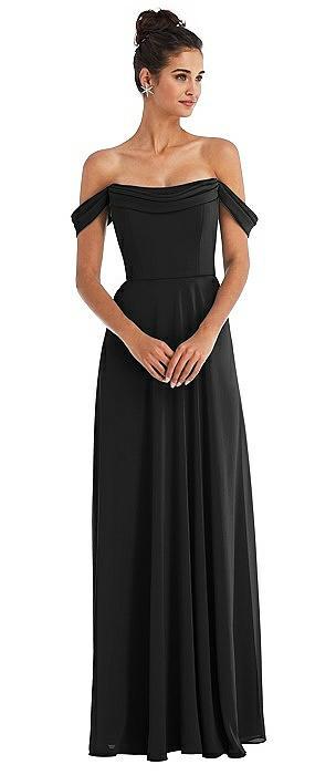 Off-the-Shoulder Draped Neckline Maxi Dress