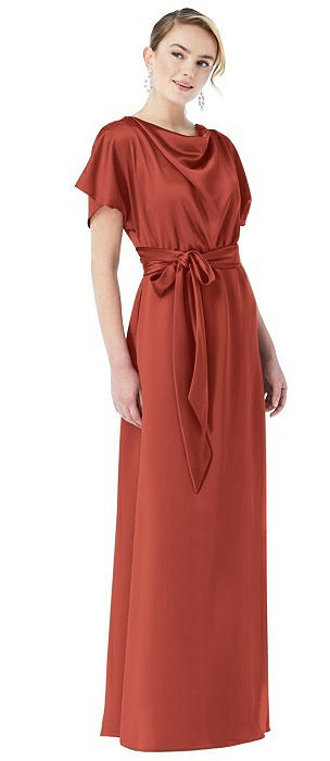 Cowl-Neck Kimono Sleeve Maxi Dress with Bowed Sash
