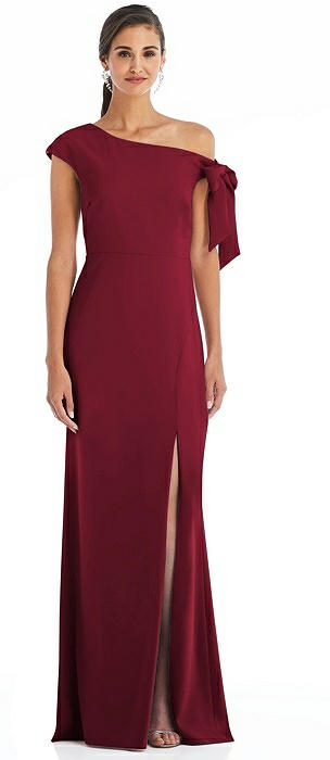 Off-the-Shoulder Tie Detail Trumpet Gown with Front Slit