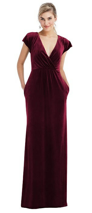 Flutter Sleeve Wrap Bodice Velvet Maxi Dress with Pockets
