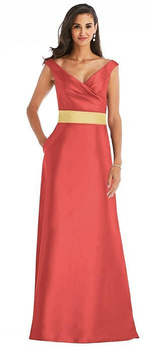 Off-the-Shoulder Draped Wrap Satin Maxi Dress