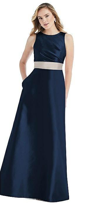 High-Neck Asymmetrical Shirred Satin Maxi Dress with Pockets