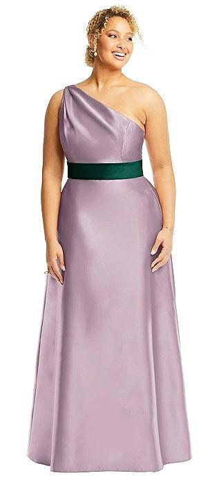 Draped One-Shoulder Satin Maxi Dress with Pockets