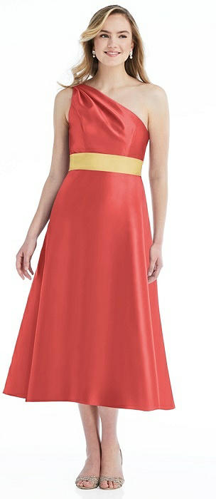 Draped One-Shoulder Satin Midi Dress with Pockets